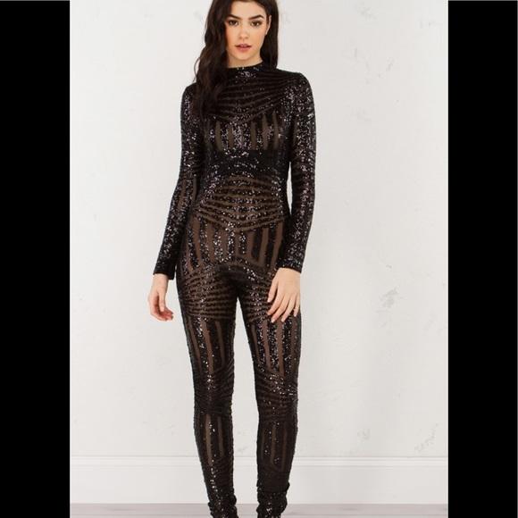 bb3e3c4240 Akira sz medium sequined jumpsuit sequin jumpsuit